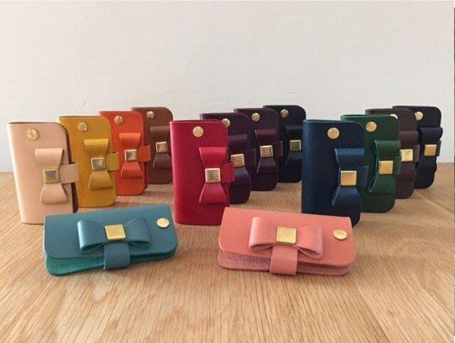 イタリアンレザーブッテーロのリボン付きキーケース シンプルタイプ 全15色 本革/ヌメ革の画像1枚目