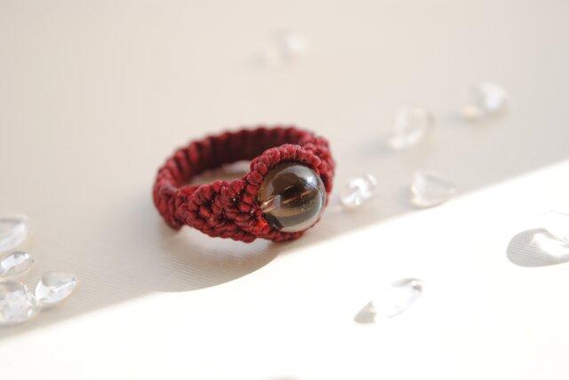 スモーキークォーツ 編み指輪*8㎜の画像1枚目