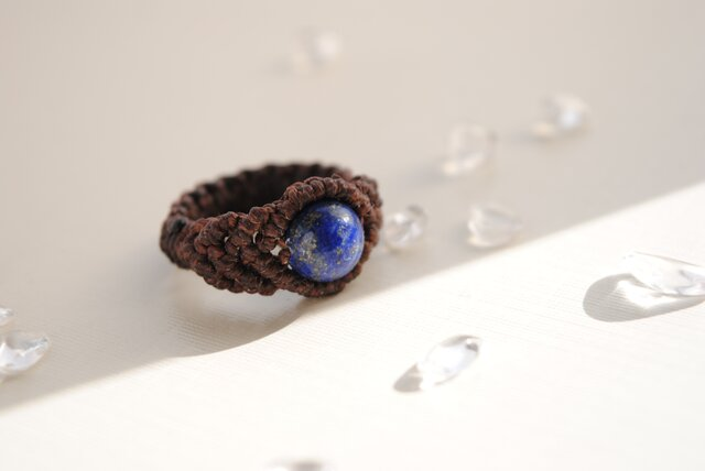 ラピスラズリ 編み指輪*8㎜の画像1枚目