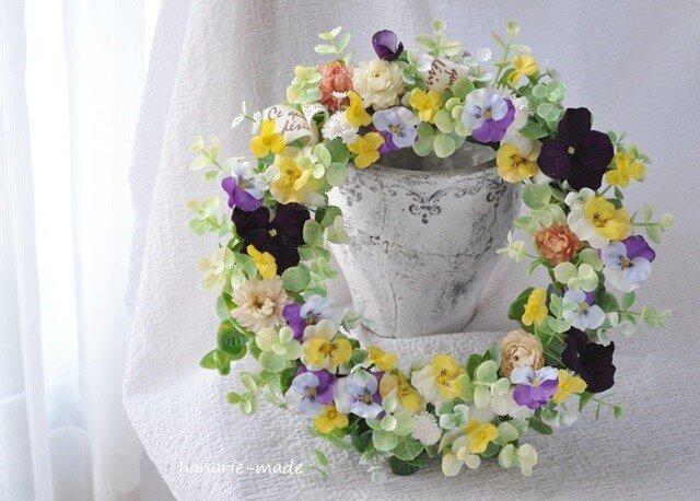 すみれ と 麦わら菊:wreathの画像1枚目