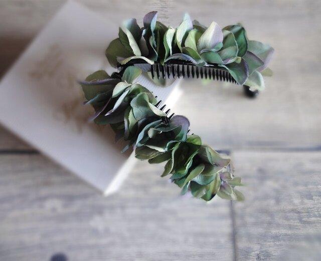 【受注生産】紫陽花のバナナクリップ■ふんわりシルエット×鮮やか発色■アクアグリーンの画像1枚目