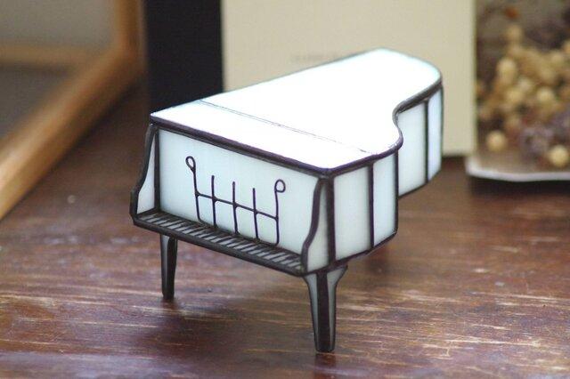 ステンドグラス ピアノ型の小物入れの画像1枚目