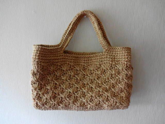 スクエア底の松編み麻バッグ の画像1枚目