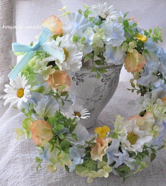 blue sweet pea & white anemone: wreathの画像1枚目
