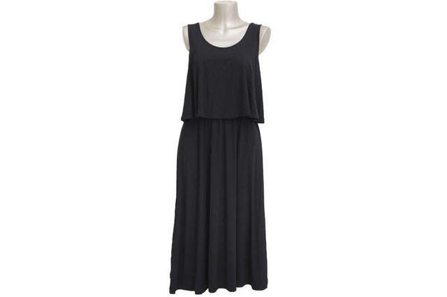 大人のノースリーブロングドレス<ブラック>の画像1枚目