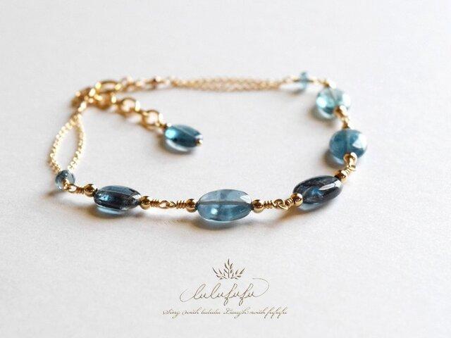 静寂の青brillant~ブルーグリーンカイヤナイトのブレスレットの画像1枚目