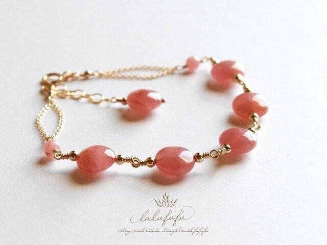 薔薇色のブーケbrillant~インカローズのブレスレットの画像1枚目