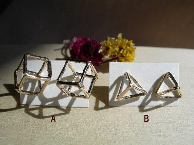 3d幾何学スタッドピアスの画像1枚目