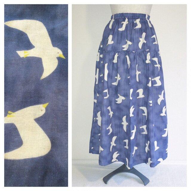 肌ざわり柔らかなダブルガーゼのティアードスカート(かもめ:ネイビー)の画像1枚目