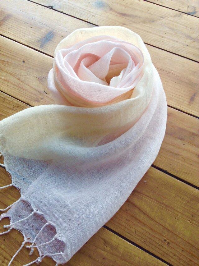 新作*薄桜×淡黄色*しなやかリネンショールの画像1枚目