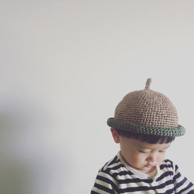 【受注製作】麻100%麦わら風どんぐり帽子の画像1枚目