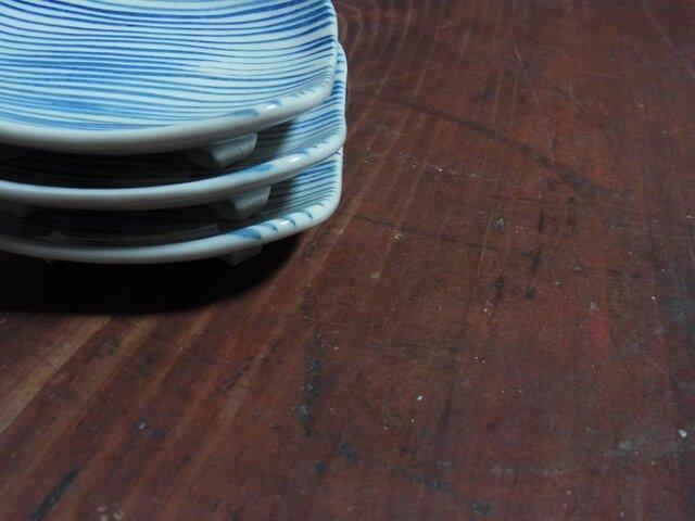 足付角皿 小 ボーダーの画像1枚目