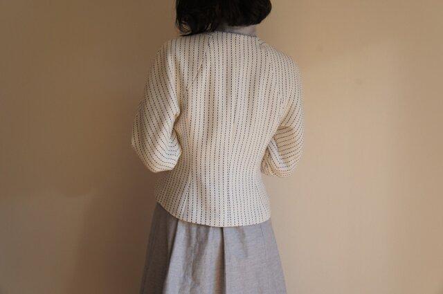 ツボミ膨らむお袖のジャケット Joe ストライプコットン◆1点物◆ の画像1枚目