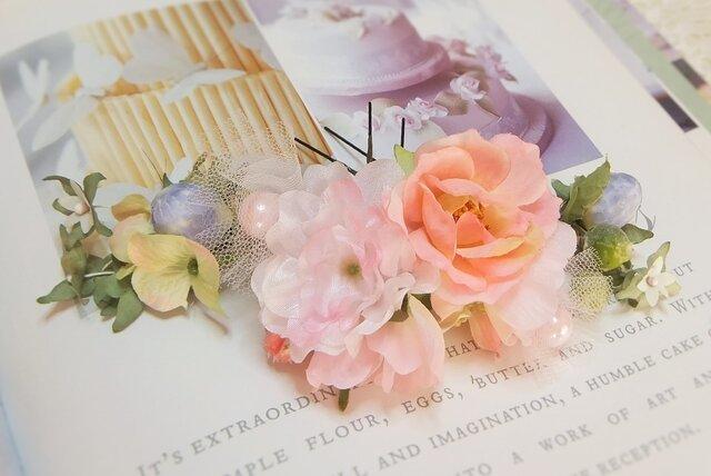 オフィーリアの花かんざし☆コーネリアスローズ&桜 6本セット☆*ライトピンクの画像1枚目