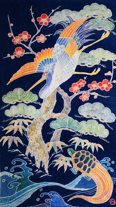 藍染筒描タペストリー「鶴亀松竹梅」の画像1枚目