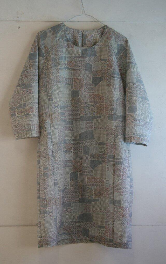 ウール 7分袖ワンピース Mサイズの画像1枚目
