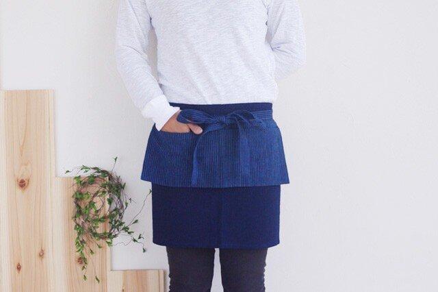 オリジナルカフェエプロン 藍染濃紺×藍縞の画像1枚目