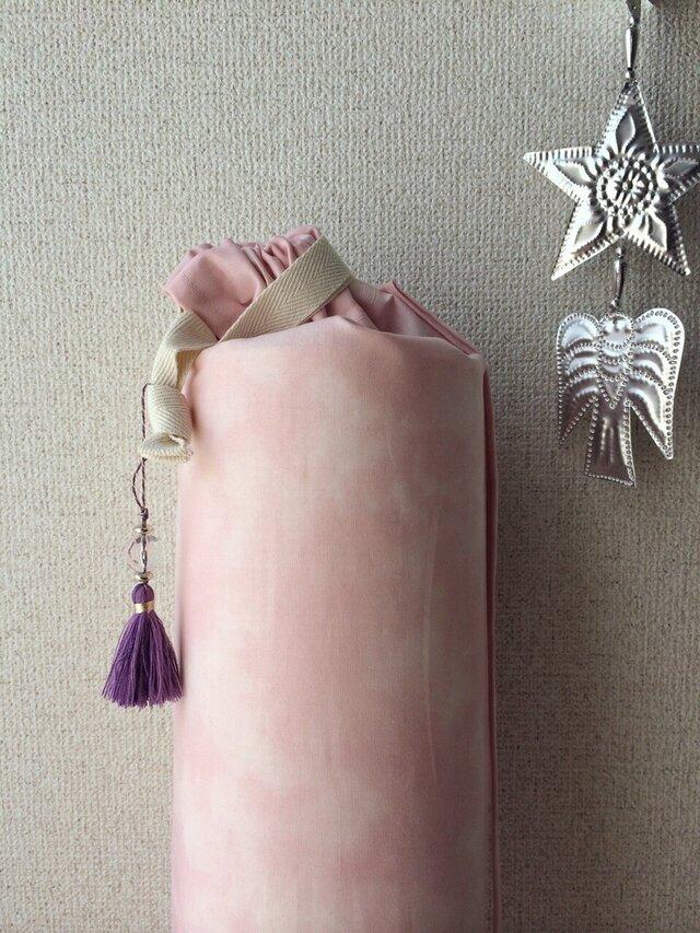 ダイダイ柄のヨガマットケース ベビーピンクMサイズの画像1枚目