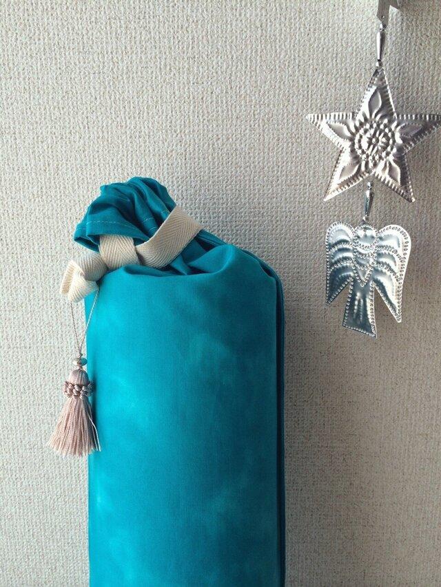 新カラー☆ダイダイ柄ヨガマットケース ブルー Mサイズの画像1枚目