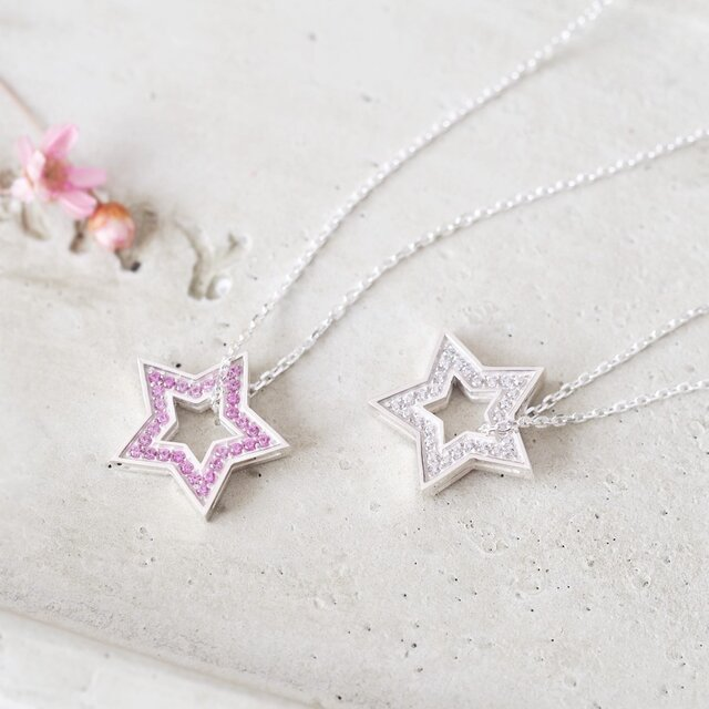 Pink 両面 星 ネックレス シルバー925の画像1枚目