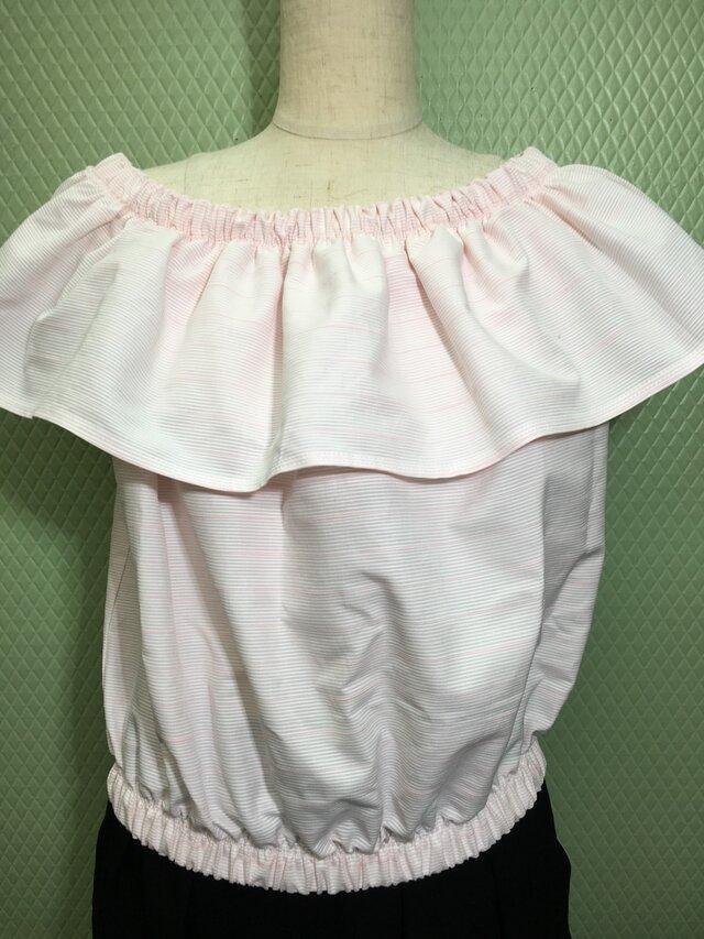 new!【夏物】かわいいピンクのフリル付トップス<送料込>の画像1枚目