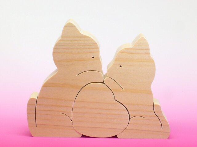 送料無料 木のおもちゃ 動物組み木 ねことハートの画像1枚目