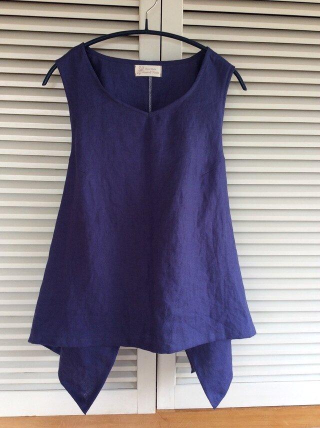 受注製作:綺麗なブルーのリネンのエプロンシャツの画像1枚目
