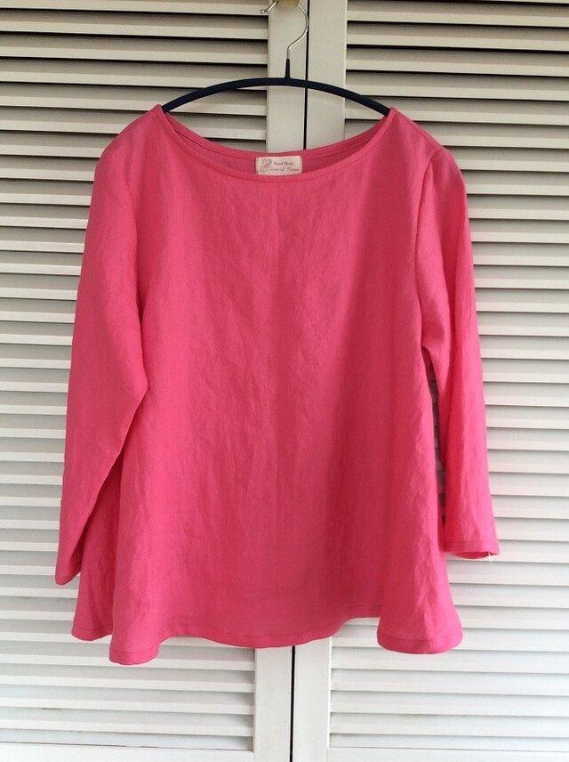 値下げ~綺麗なピンクのリネン100%のAラインブラウスの画像1枚目