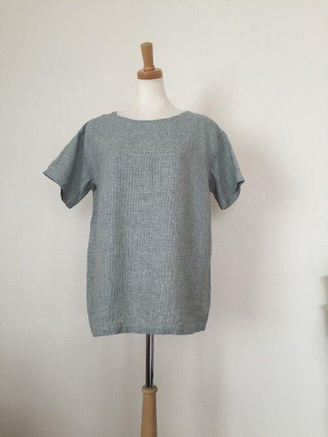 千鳥格子リネンのシンプルリネンTシャツ M~Lの画像1枚目