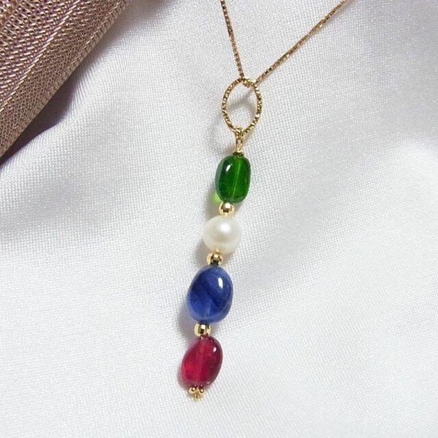 18金 ルビー サファイア あこや真珠 クロム・ダイオプサイド K18ネックレスの画像1枚目