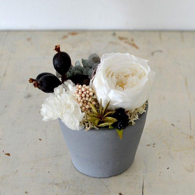 【ホワイト】ローズてまり アジサイ ブラックベリー プリザーブドフラワーアレンジ 花ギフト お祝い 敬老の日の画像1枚目