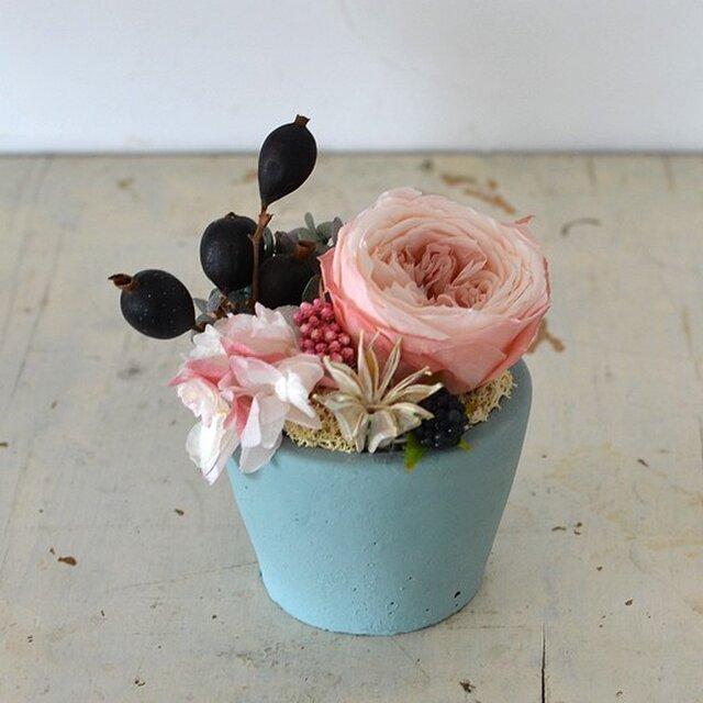 【ショコラピンク】ローズてまり アジサイ ブラックベリー プリザーブドフラワーアレンジ 花ギフト お祝い 敬老の日の画像1枚目