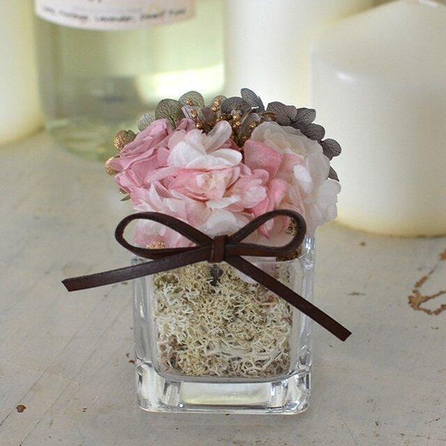 【モーブピンク・グレー】バラ アジサイ  プリザーブドフラワーアレンジ 花ギフト お祝い 敬老の日の画像1枚目