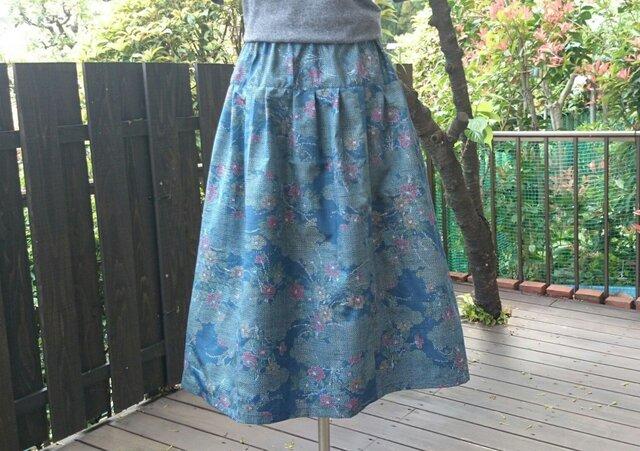 着物地(紬)リメイク ヨーク切り替えギャザースカートの画像1枚目