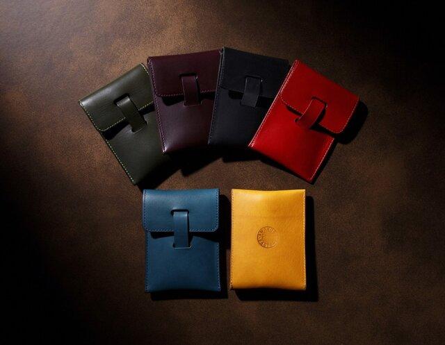 イタリア製リスシオ レザー カードケース 名刺入れ パスケース PullStabの画像1枚目