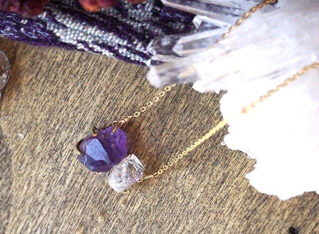原石のアメジストとダイヤモンドクォーツのネックレスの画像1枚目