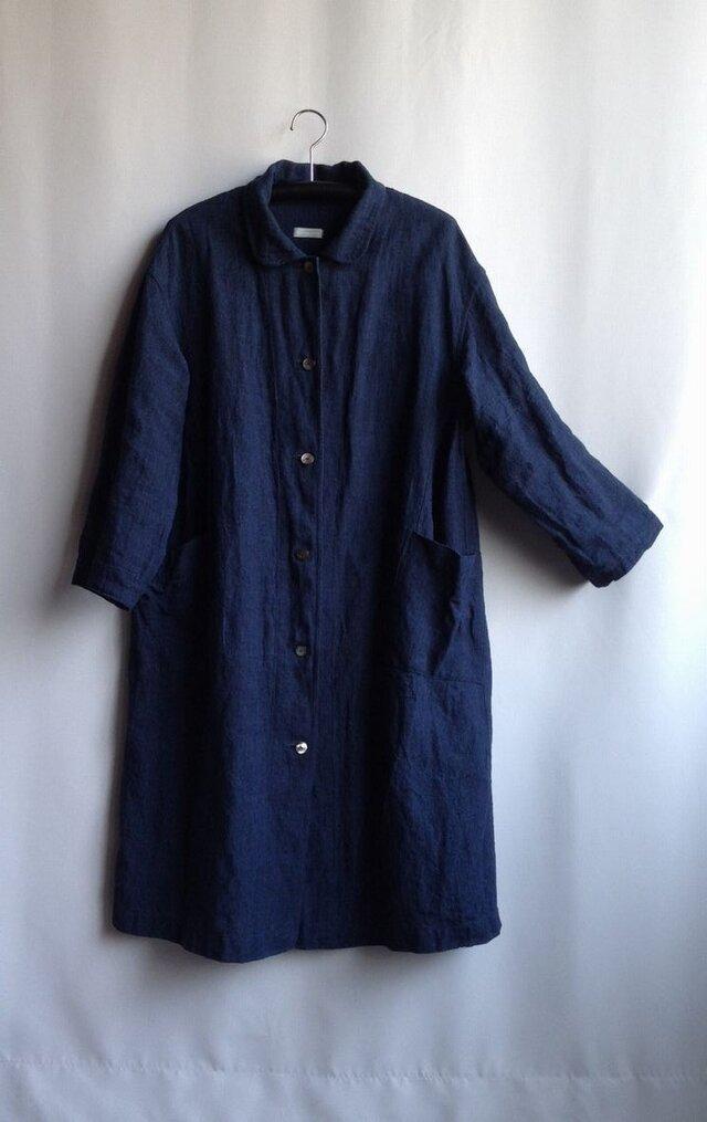 ゆったりなコートドレス(ピンタック無し) ・ 麻 藍色 ☆染むらで3割お値打ちにに☆の画像1枚目