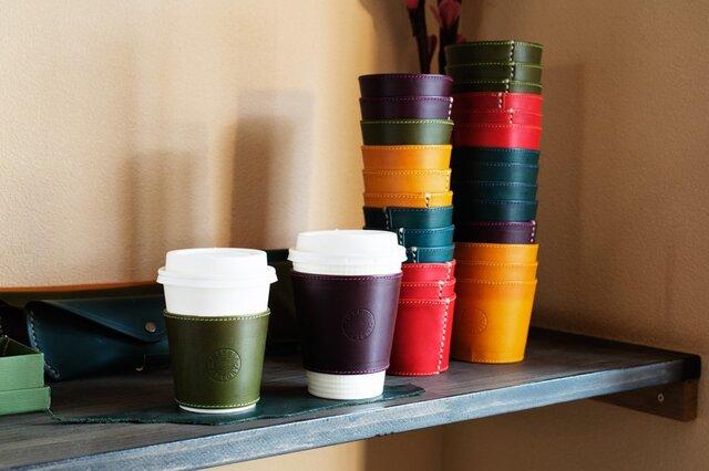 上質なイタリア革リスシオで製作したカップスリーブ、トールサイズ(コンビニラージサイズ)カラーも6種類の画像1枚目