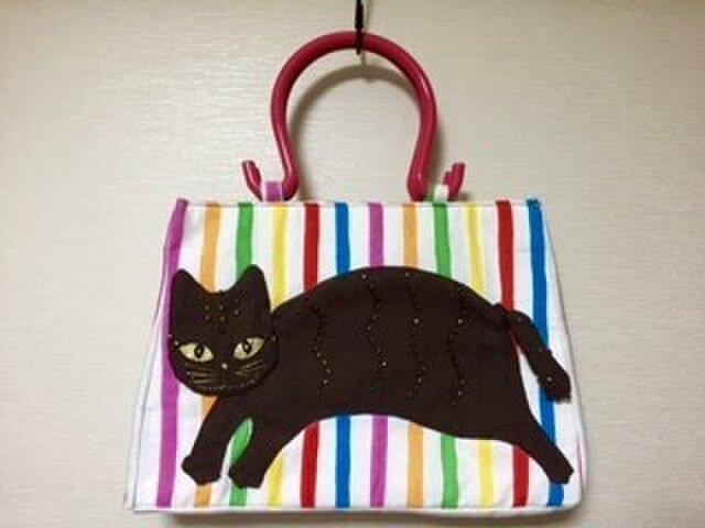 猫アップリケトートバッグの画像1枚目