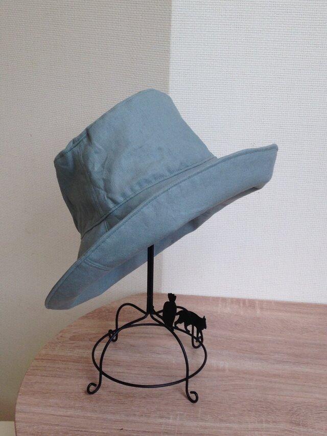 ユーカリ色 スタンダードリネ帽子 50〜65cmオーダーの画像1枚目