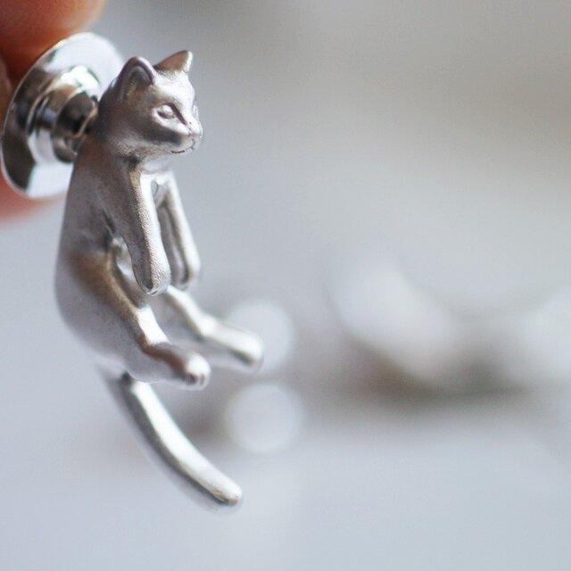 猫ピンブローチ グリ(シルバー)の画像1枚目