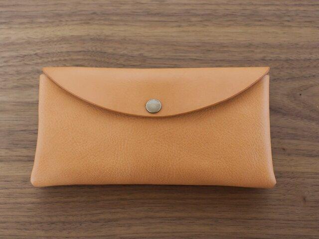イタリア製牛革のシンプルな大きめ長財布  /  ナチュラル※受注製作の画像1枚目