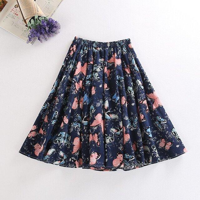 s18蝶の柄 綿麻スカートの画像1枚目