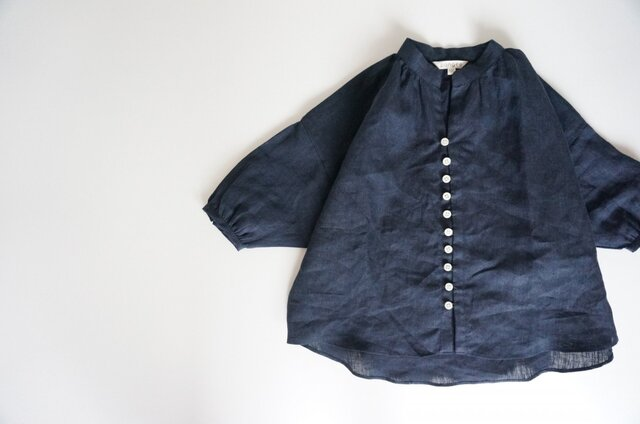 Linen button gather blouse 90,100の画像1枚目