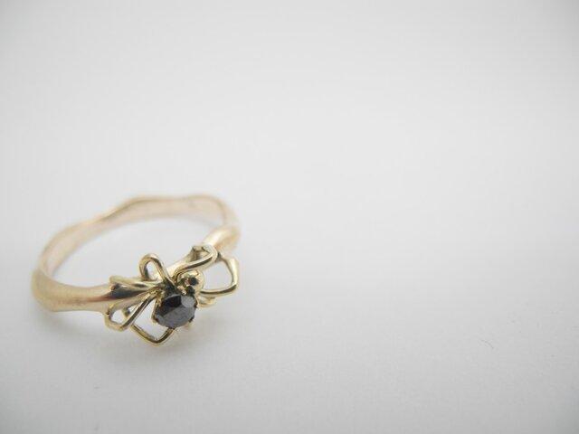 蜘蛛のリング 10Kイエローゴールド ブラックダイヤモンドの画像1枚目