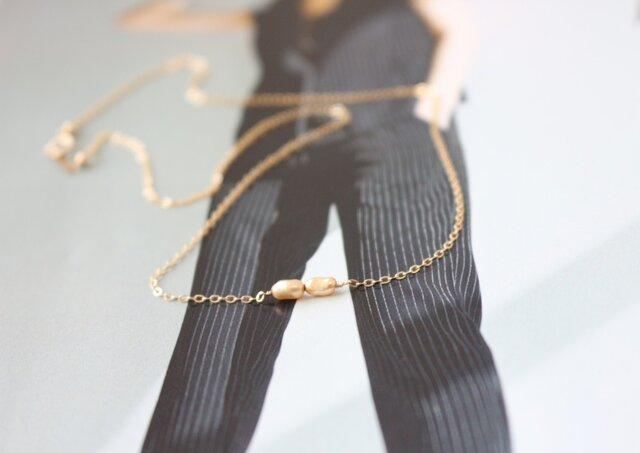 淡水パールネックレス(40㎝)〜goldの画像1枚目