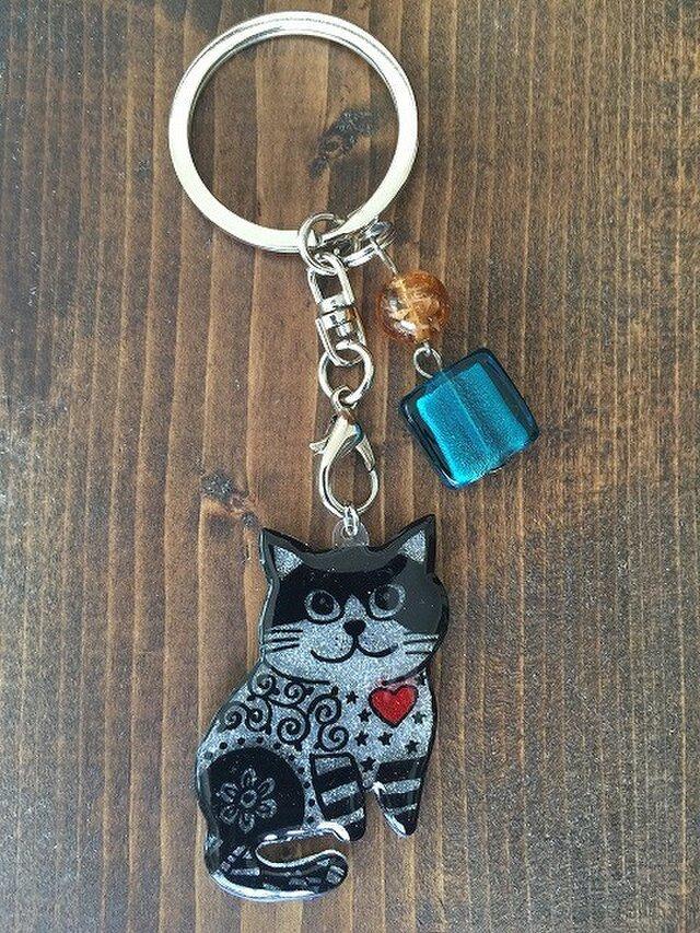 【SALE】猫のピカピカキーホルダーの画像1枚目