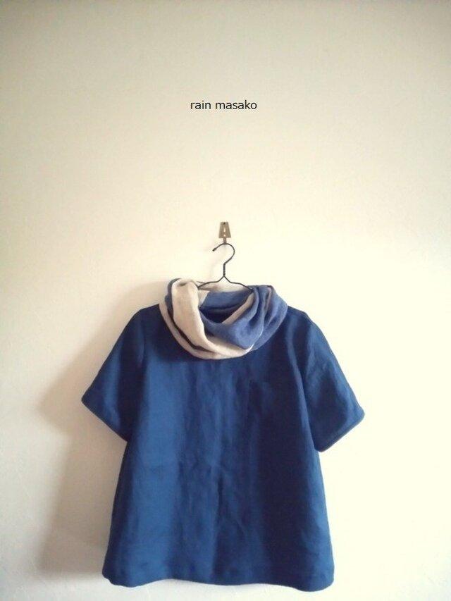 リネンの胸ポッケTシャツ*ディープブルーの画像1枚目