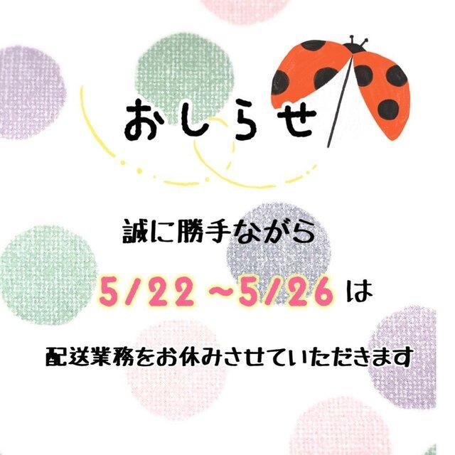 5/22〜5/26は配送をお休みさせていただきますの画像1枚目