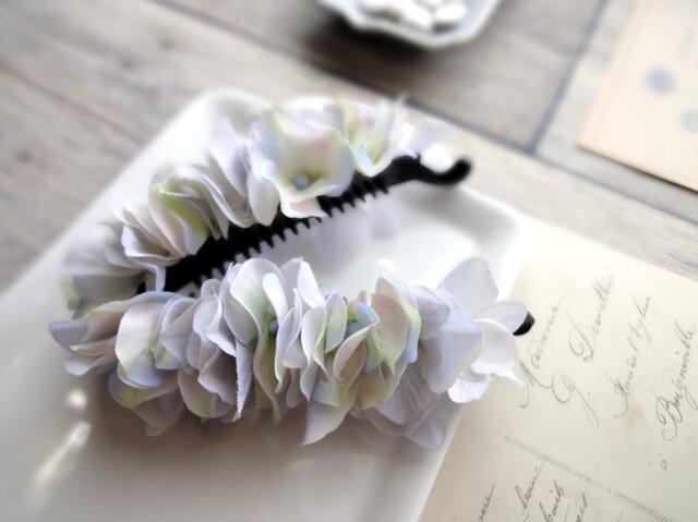 バナナクリップ■紫陽花の花びら■グレイブルーの画像1枚目